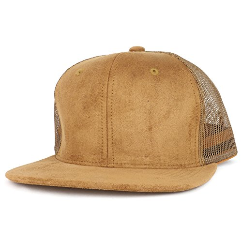 Trendy Apparel Shop Suede Plain Mesh Structured Snapback Cap With Flat Bill - Tan