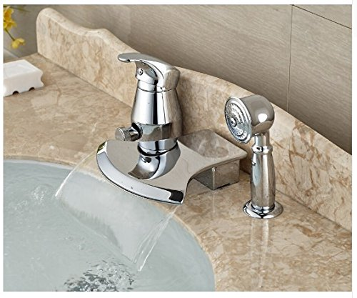 Gowe Brief Bathroom Basin Deck Mounted Sink Faucet Waterfall Mixer tap With Hand Shower Chrome Finished 3