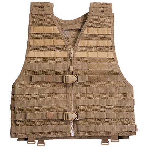 Tactical Nylon 5.11 Vest (5.11 LBE Tactical Vest with MOLLE for Paintball Airsoft Hiking Hunting, Style 58631, Flat Dark Earth, Regular)