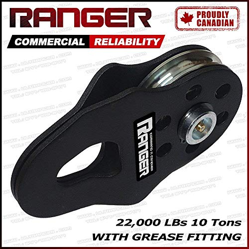 Ranger (10 Tons 22,000 LBs) Commercial Reliability Snatch Block with Grease Fitting by ()