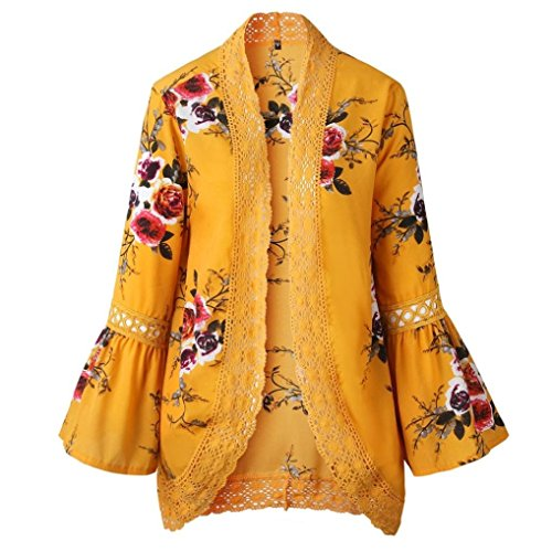 Women Lace Floral Open Cape Casual Coat Blouse Kimono Jacket Cardigan