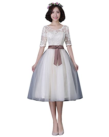 Drasawee Womens Middle Sleeve Lace Bowknot Prom Party Cocktail Dresses Sexy Backless Short Homecoming Bridesmaid Evening