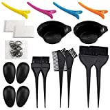 21 Packs Hair Dye Coloring Kit, Sonku Dye Brush Comb Mixing Bowl Ear Caps Shower Cap Apron Sectioning Clips and Hairbands for DIY Salon Hair Dye Tool
