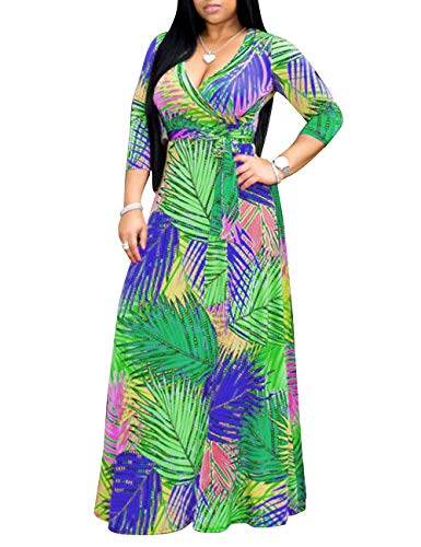 - Women's Sexy V Neck Long Maxi Dress Leaf Print Casual Long Faux Wrap Party Dress with Belt Green Blue