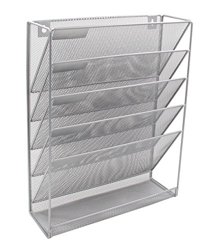 (EasyPAG Mesh Wall Hanging File Holder Organizer Mounted Document Tray,Silver)