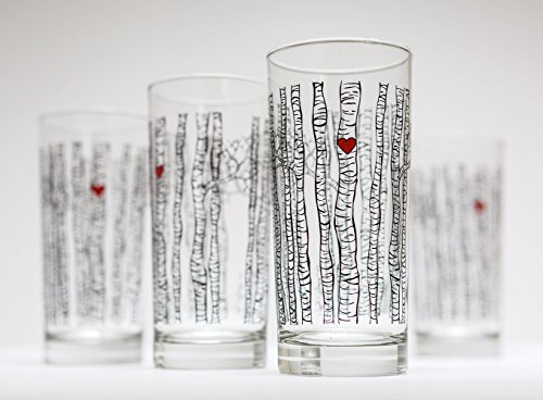 Birch Tree Glassware - Set of 4 Highball Glasses, Valentine's Day - Four Highball Glasses