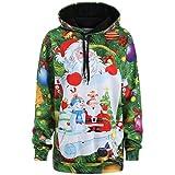 Women Hoodies, Kimloog 3D Print Long Sleeve Christmas Santa Snowman Ugly Drawstring Sweatshirts Pullover (M, Green)