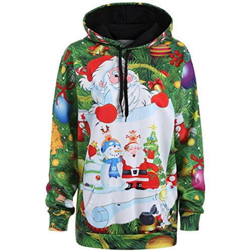 Women Hoodies, Kimloog 3D Print Long Sleeve Christmas Santa Snowman Ugly Drawstring Sweatshirts Pullover (M, Green) by Kimloog