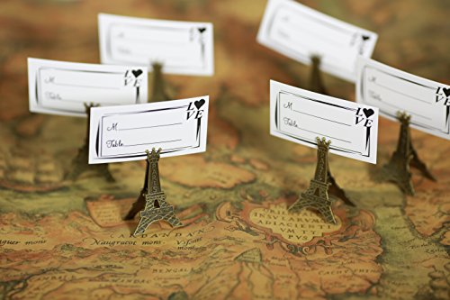 50pcs Small Vintage Eiffel Tower Place Card Holder Clips Paris Wedding Favor Rustic Decoration Memo Photo Holders -