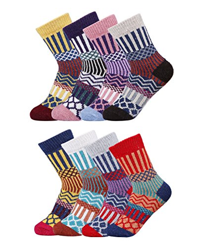 (Luxina 8 Pairs Thick Wool Knitting Autumn Winter Socks for Women, Striped Geometric Patterned, One Size)