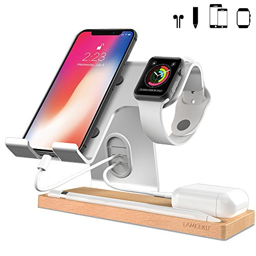 LAMEEKU Compatible Cell Phone Stand Replacement for iPhone, Desktop Stand Holder Dock for iPad 2017 Pro 9.7, 10.5, Air Mini 2 3 4, Tablets, iPhone, Android Smartphone - Silver