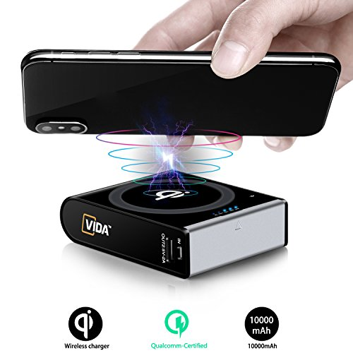 [Qi Wireless Charger + Qualcomm QC3.0 Power Bank] CVIDA 10000mAh Wireless Power Bank 3-Port Portable Charger External Battery Pack with USB-C In & Out for iPhone 8/8 Plus, iPhone X, Galaxy S8 (Black)