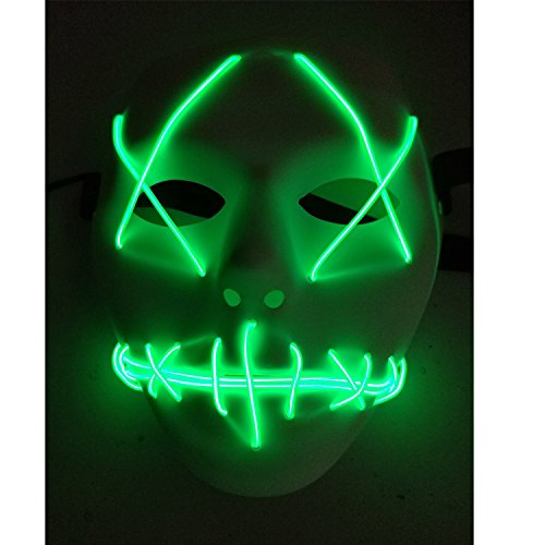 A-MORE Halloween Mask Cosplay LED Glow Scary EL Wire Light Up Grin Masks for Festival Parties Costume (Green)]()