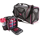 6 pack blender bottle - Fit & Fresh Dual Jaxx FitPak Duffel with Portion Control Container Set, Reusable Ice Pack, and Shaker Cup