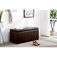 Mcombo Storage Ottoman Classical 4pc Folding Faux Leather, Shoe Bench, Bench, Foot Rest (Brown)