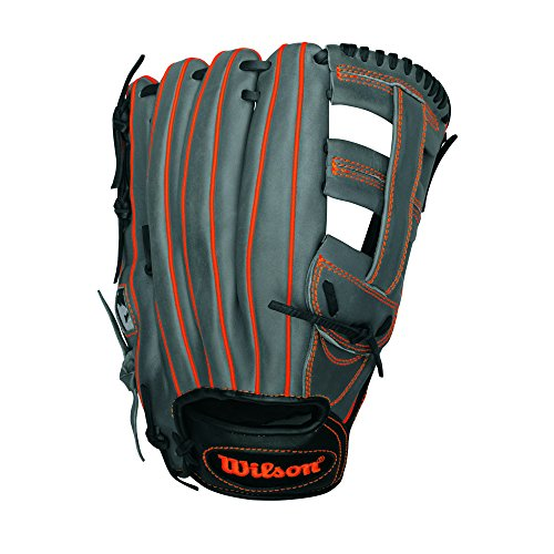 Wilson 6-4-3 Slowpitch Softball Glove, Black/Coal/Neon Orange, 13-Inch, Right Hand Throw -
