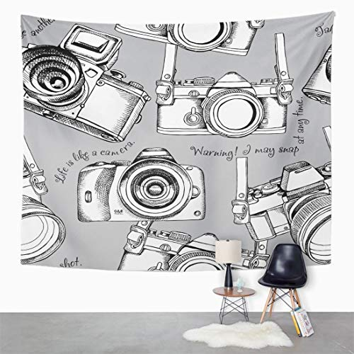 (Semtomn Tapestry Wall Hanging Line Images of Black and White Cameras on Gray 50