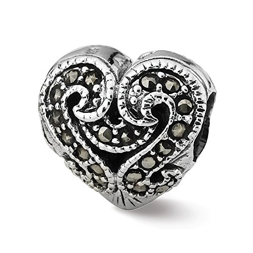 925 Sterling Silver Charm For Bracelet Marcasite Heart Bead Love Stone Crystal Fine Jewelry Gifts For Women For Her ()