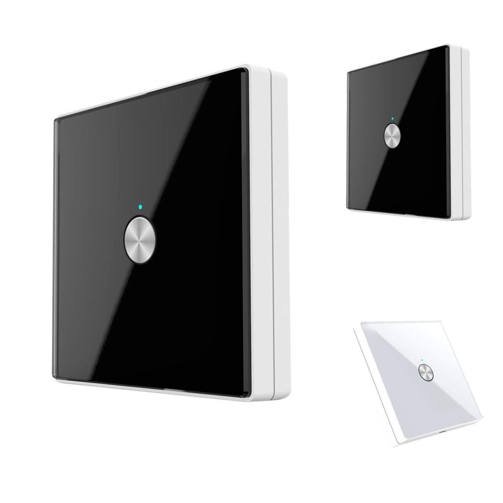Nacome Wireless Wall Switch Lighting Control, Remote Operation,Capacitive Glass Wireless Wall Switch (Black)