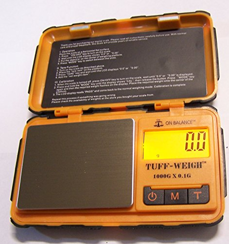 On Balance TUF-1000 Tuff-Weigh 1000 Gram X 0.1 Pocket Scale Orange ()