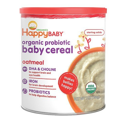 Happy Baby Organic Probiotic Baby Cereal: Oatmeal 7 oz (pack of 2)