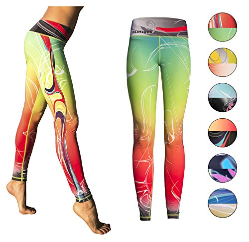 Price comparison product image Platinum Sun Prime Women's Leggings with Designs Deal - Mystica Red-Green - L