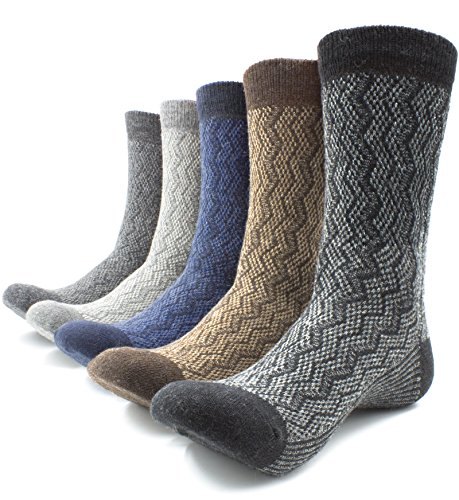 Men Wool Thick Winter Socks 5 Pairs Warm Crew Socks Assorted Colors By JiYe,Stripe (Dress Socks Wool)