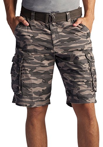 Lee Men's Dungarees New Belted Wyoming Cargo Short, Carbon Camo, - Mens Shorts Camo Cargo