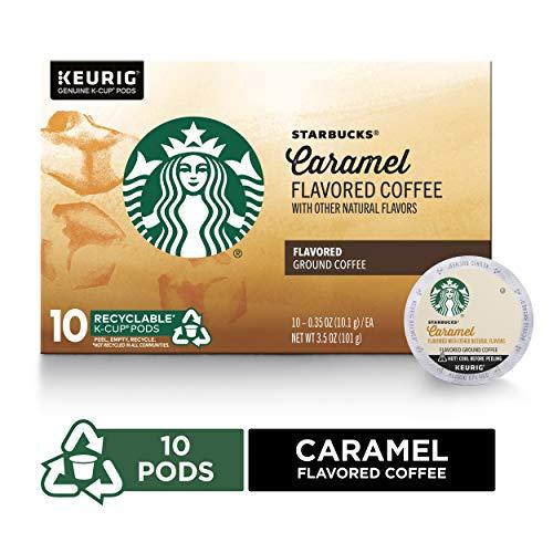 Starbucks Caramel Flavored Medium Roast Single Cup Coffee for Keurig Brewers, Box of 10 K-Cup Pods (Best Caramel Coffee At Starbucks)