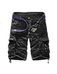 "WSLCN Men's Retro Baggy Twill Cargo Shorts Cotton Casual Shorts Loose Relaxed Summer Cargo Shorts Multi Pockets Waist 39.4"" Camo Black"