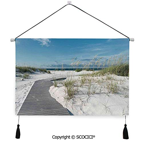SCOCICI Durable Material Multipurpose W24xL17inch Wall Hanging Tapestry Rustic Beach Pathway to The Water in Florida Santa Rosa Island Summer Travel Decorative Painting Living Room Painting Fabric - Rosa Planters Santa