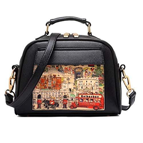 Oil Picture Pattern Women Bag Fashion PU Leather Handbag Casual Shoulder Female