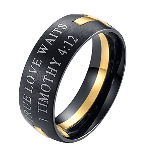 HIJONES Men's Stainless Steel Bible Verse 1 Timothy 4:12 Christian Cross Puzzle Ring Gold Size 7