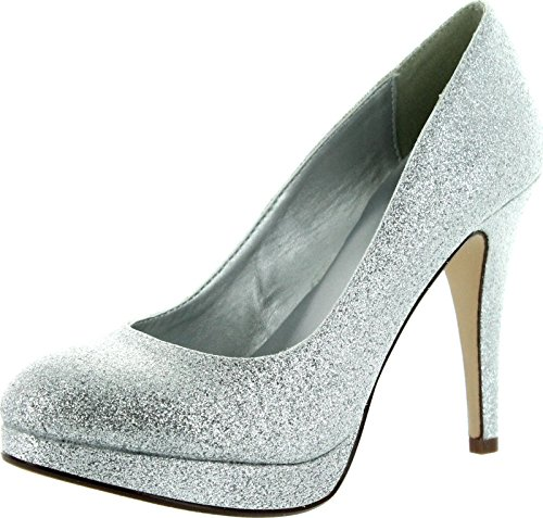 Delicious Womens Almond Shape Toe Platform Stiletto High Heel Pump Silver Glitter RCVtB
