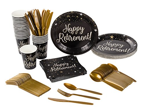 Happy Retirement Party Supplies – Serves 24 – Includes Plastic Knives, Spoons, Forks, Paper Plates, Napkins, and Cups Perfect for Any Retirement