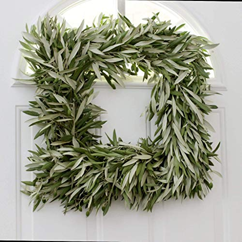 Fresh Olive Branch Wreath Square - 18 inches - Home Decor - Front Door Decor - Gifts - Wedding - Bridal Shower - Baby Shower ()