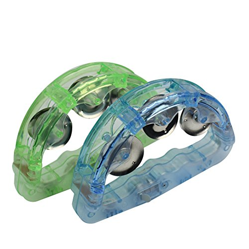 Refaxi 2Pcs Light up LED Tambourine Musical Flashing Toy KTV Party Dancing Cheering