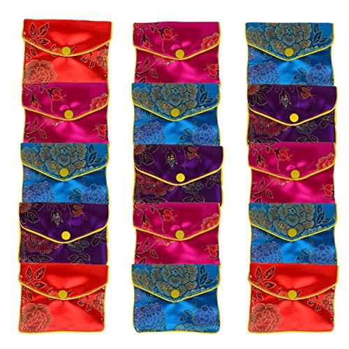 Bleiou 15 Pcs Jewelry Silk Purse Pouch Brocade Gift Bags Mix Colors(Medium)