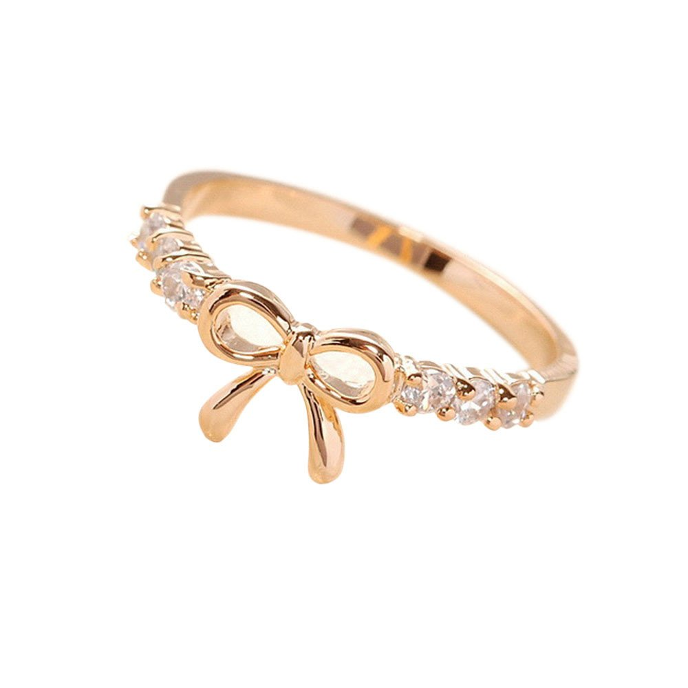Nihewoo 925 Sterling Silver Ribbon Bow Stud Ring Promise Ring Infinity Romantic Love Jewelry Stack Ring (Gold)