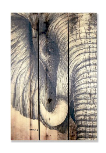 """Gizaun Art Signature Series No.1 """"African Elephant"""" Inside/Outside Full Color Cedar Wall Art, 16 by 24-Inch"""