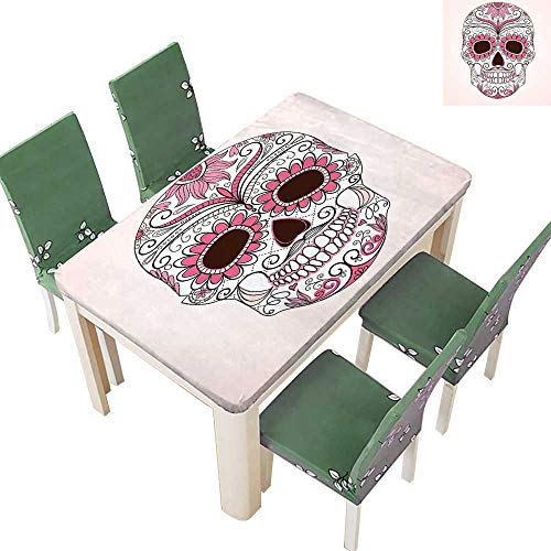 Printsonne Spillproof Fabric Tablecloth Mexican Ornaments Calavera Catr a spired Macabre Light Kitchen Washable 54 x 120 Inch (Elastic Edge) -