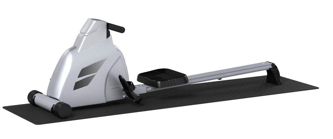 Velocity Exercise Black Magnetic Rower (Gray with Equipment Mat)