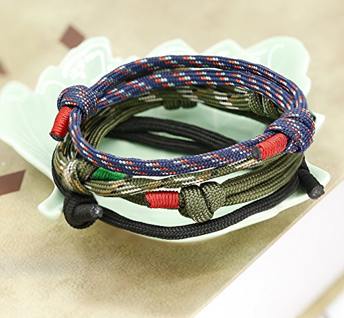 FIBO STEEL 4 Pcs Braided Nautical Bracelets for Men Handmade Navy Rope String Cool Bracelet Adjustable