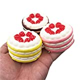 Rambling 3PC Mini Strawberry Cake Kawaii Squishy Slow Rising Cream Scented Stress Reliever Toys For Kids and Adults Great Gift