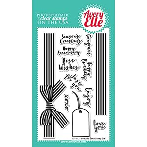 """Avery Elle Clear Stamp Set 4""""X6""""-Beautiful Bow"""