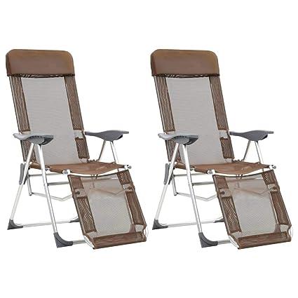 Festnight 2X Sillas Plegables de Camping Playa Aluminio con ...