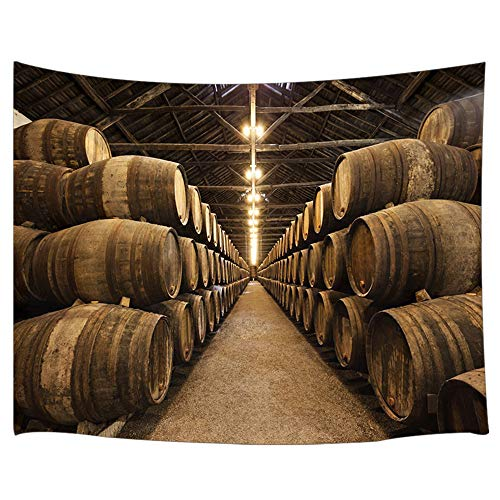Wine Cellar Tapestry, Container Wine Barrel Storage in Italian Underground Oak, Tapestries Wall Hanging Blankets Home Decor for Bedroom Living Room Dorm, 80X60 Inches