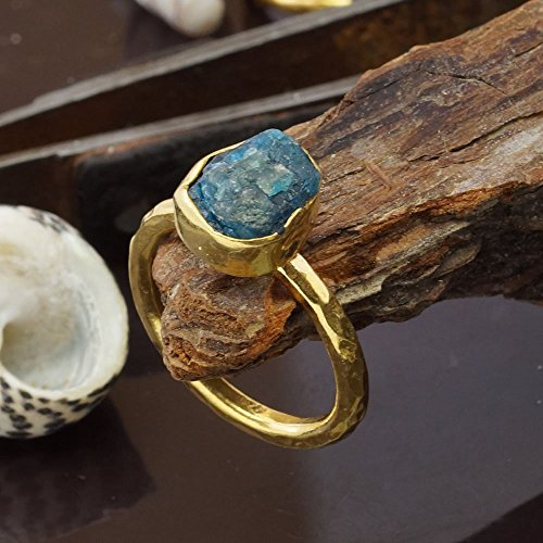 Sterling Silver 925k Handmade Rough Apatite Stack Ring By Omer 24k Vermeil Size (Apatite Sterling Silver Ring)