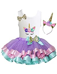 Kirei Sui Girls Lavender Pastel Satin Trimmed Tutu & Birthday Floral Unicorn Tank Top