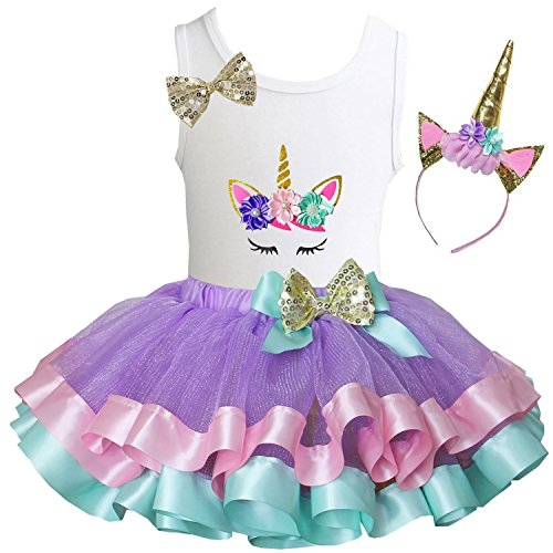 Kirei Sui Girls Lavender Pastel Satin Trimmed Tutu Unicorn Tee XL with Headband - Trimmed Dress